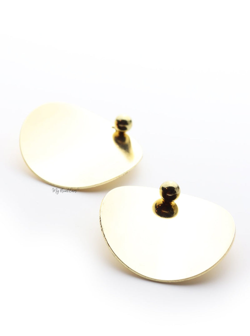 Alejandra- oval round statement stud earrings - My Roial Ears LTD