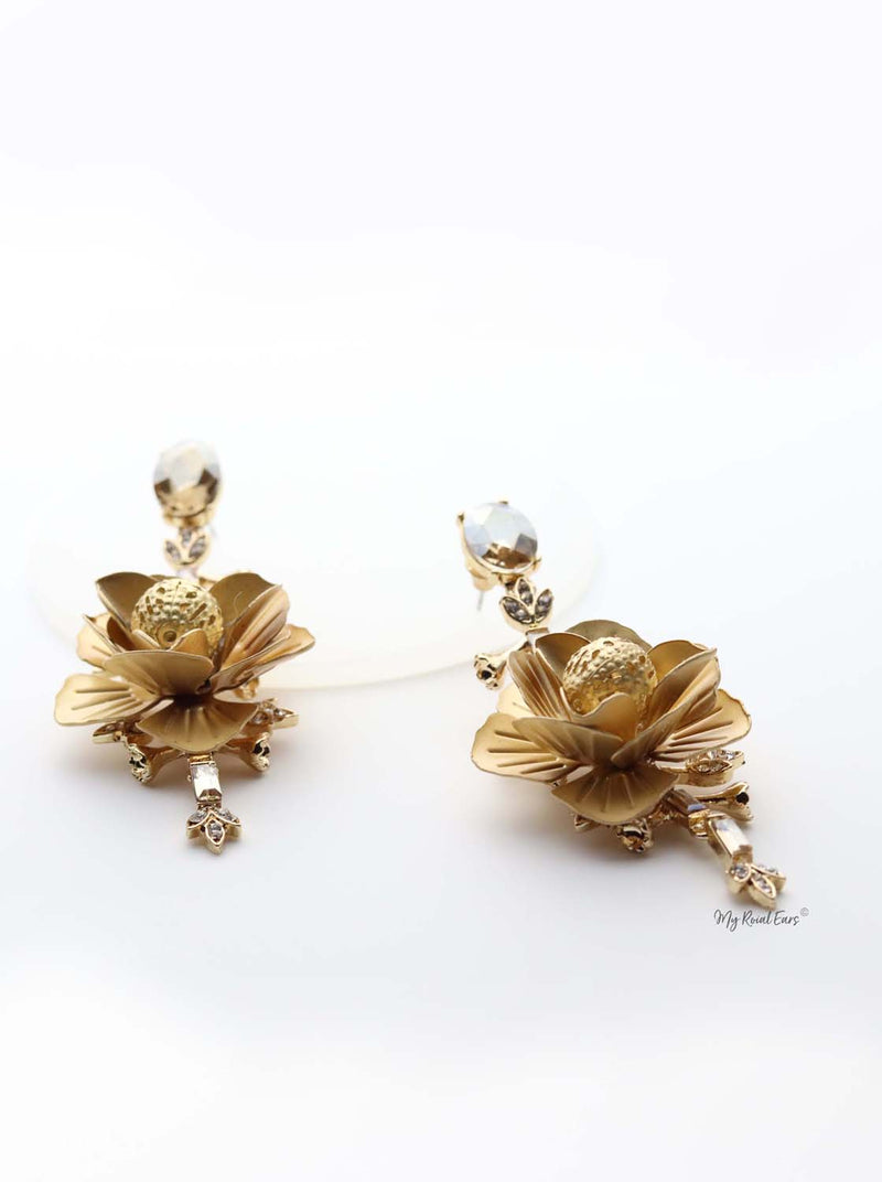 Gaia- gold plated 3d floral glam earrings - My Roial Ears LTD