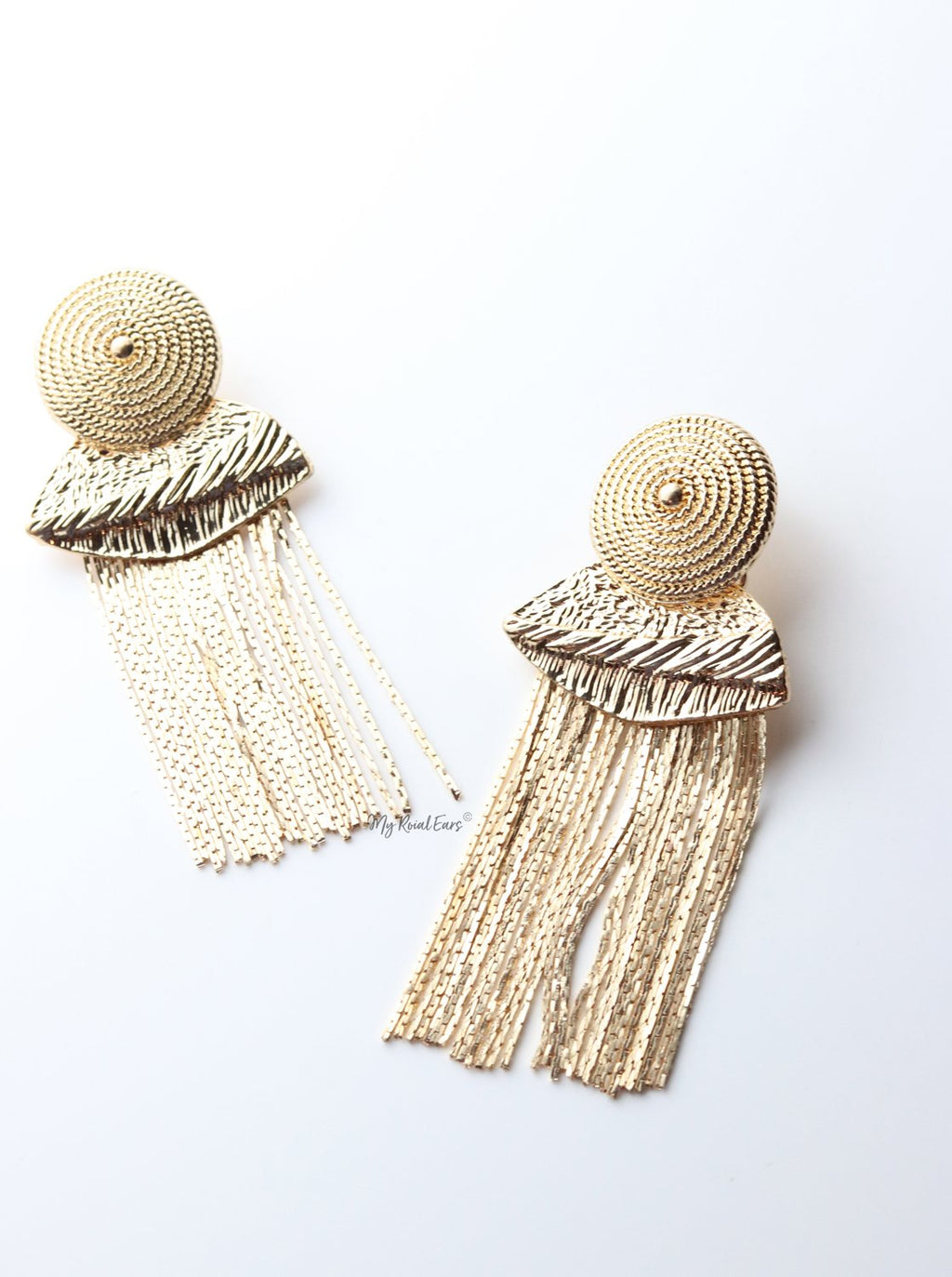 Eppie- statement tassel gold drop earrings - My Roial Ears LTD