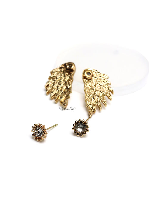 Drea Gold - two in one wing stud earrings