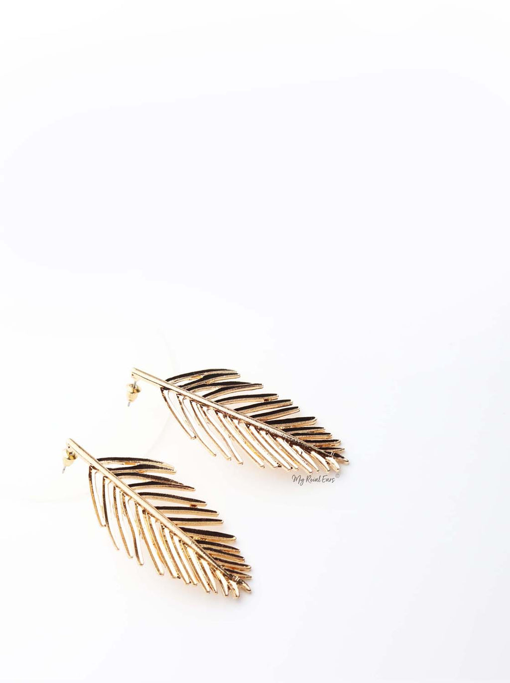 Daphne-gold plated leaf statement stud earrings - My Roial Ears LTD