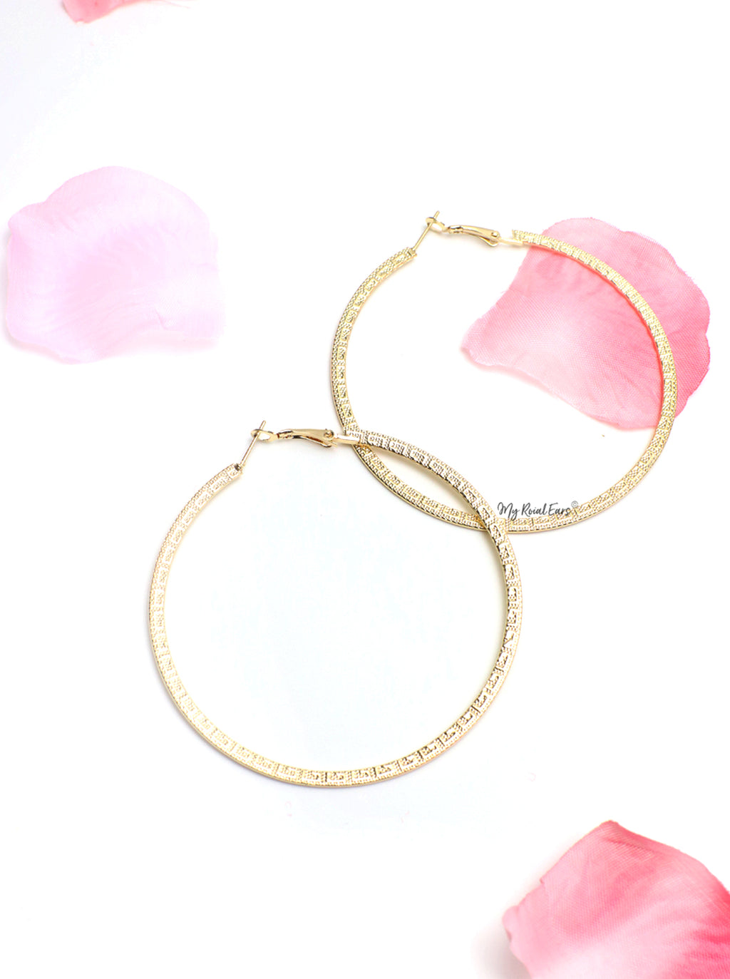 Diana- gold pattern hoop earrings