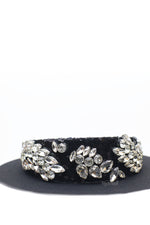Queen Georgina- black sequin headband with rhinestone crystals - My Roial Ears LTD
