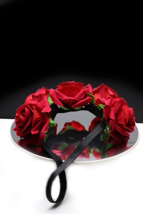 Queen Donna Red- rose flower headband - My Roial Ears LTD