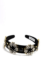 Queen Elissa- black velvet pearl circle headband