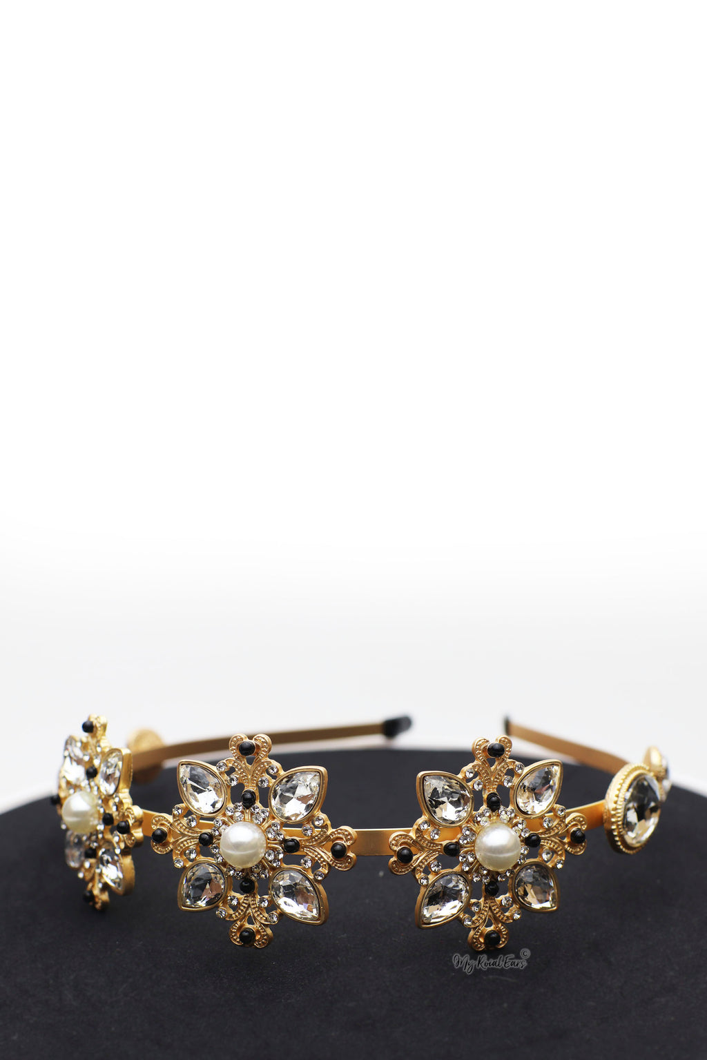 Queen Juno- gold crystal flower headband - My Roial Ears LTD