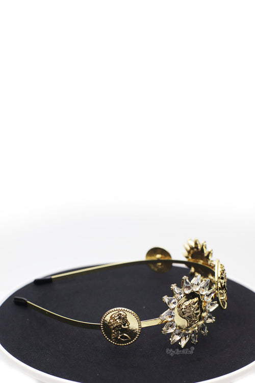 Queen Kaila- retro baroque inspired sunflower gold headband - My Roial Ears LTD