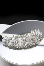 Queen Rhiannon-silver crystal glass embellished hair comb headpiece - My Roial Ears LTD