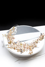 Queen Aung- a champagne floral beaded leaf headband - My Roial Ears LTD