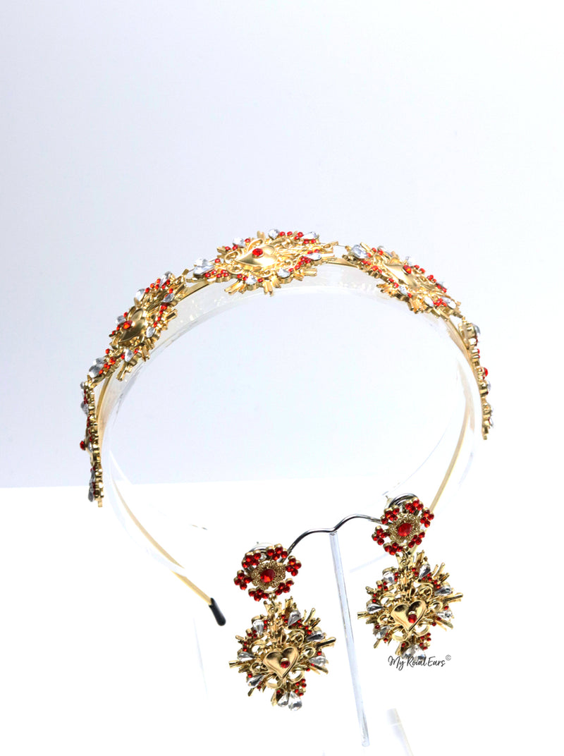 Queen Florence- tiara and earring fashion baroque set