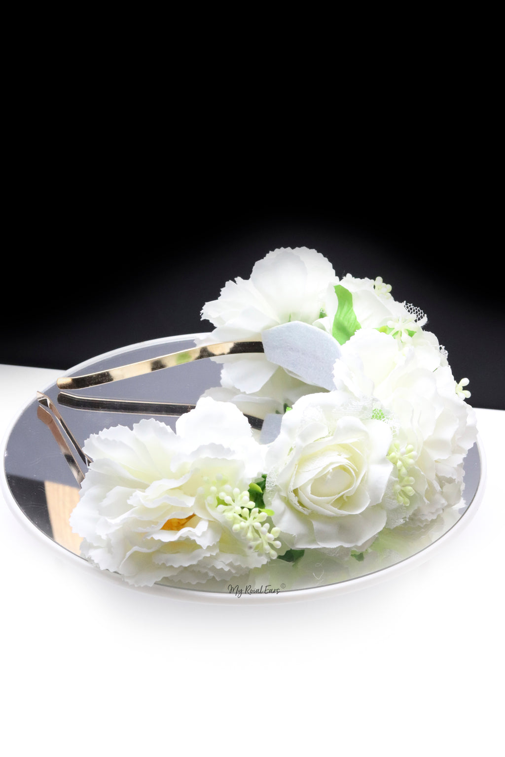 Queen Avril- white rose floral crown headband - My Roial Ears LTD