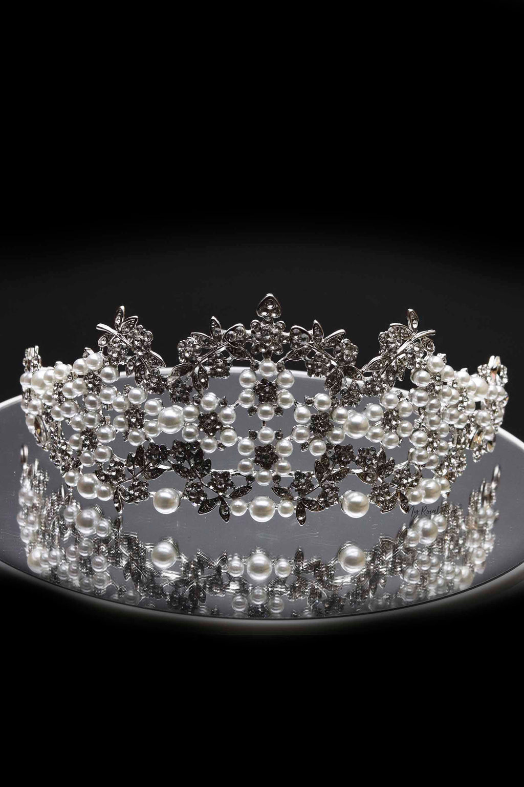 Queen Oprah- crystal and pearl beaded Tiara - My Roial Ears LTD
