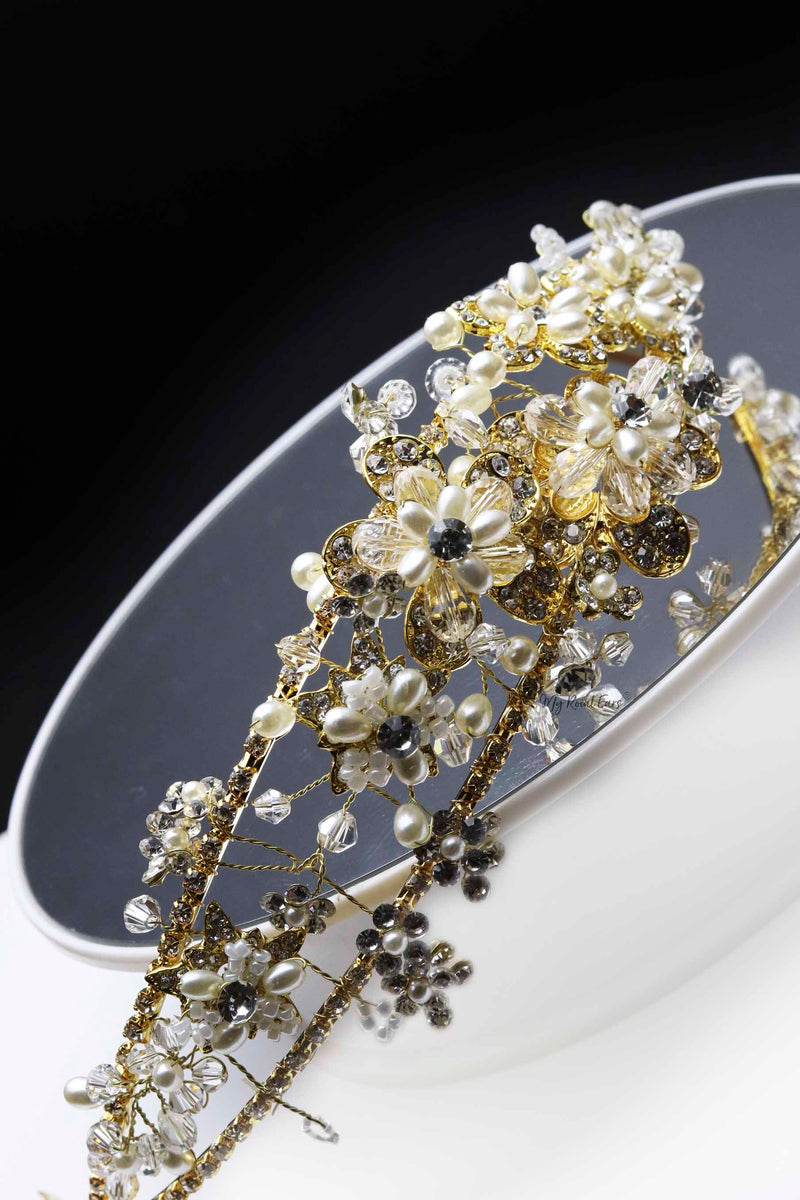 Queen Flo- a golden embellished tiara - My Roial Ears LTD