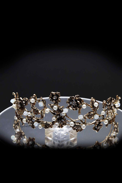 Queen Matha - bronze floral pearl tiara - My Roial Ears LTD