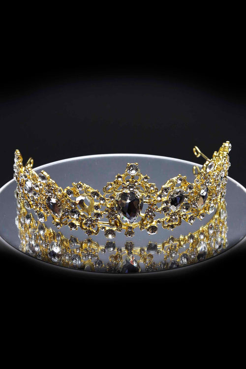 Queen Sheila- exquisite golden glass stone crown - My Roial Ears LTD