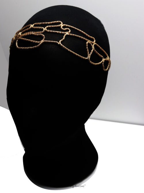 Queen Jacqeline- golden knitted pattern headband