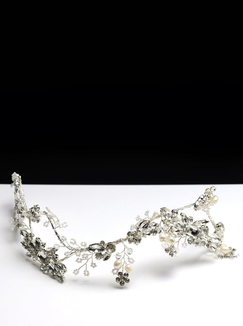 Queen Lizzie Silver- handmade bridal headpiece