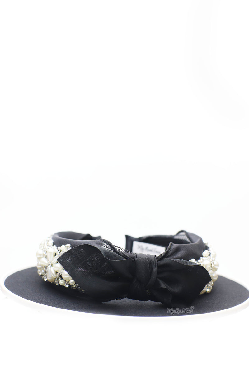 Queen Henrietta - black lace crystal knotted bow headband - My Roial Ears LTD