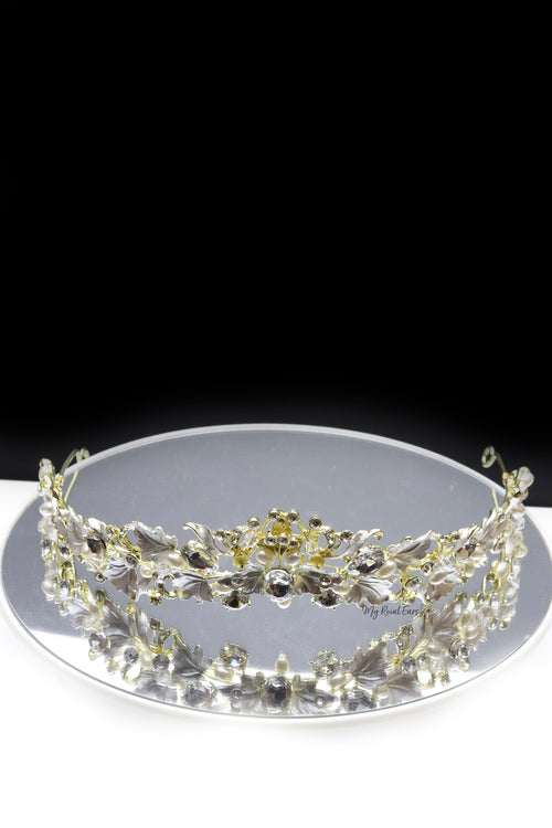 Queen Angle- an exquisite pearl leaf crystal tiara - My Roial Ears LTD