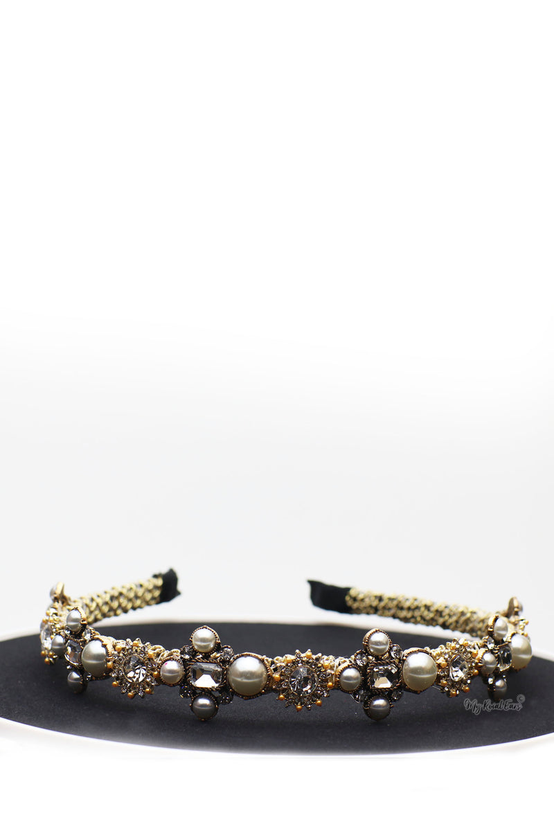 Queen Matilda- crystal baroque pearl headband - My Roial Ears LTD