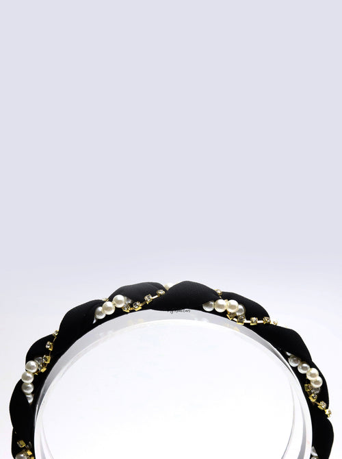 Queen Adeola- chiffon pearl interwoven headband