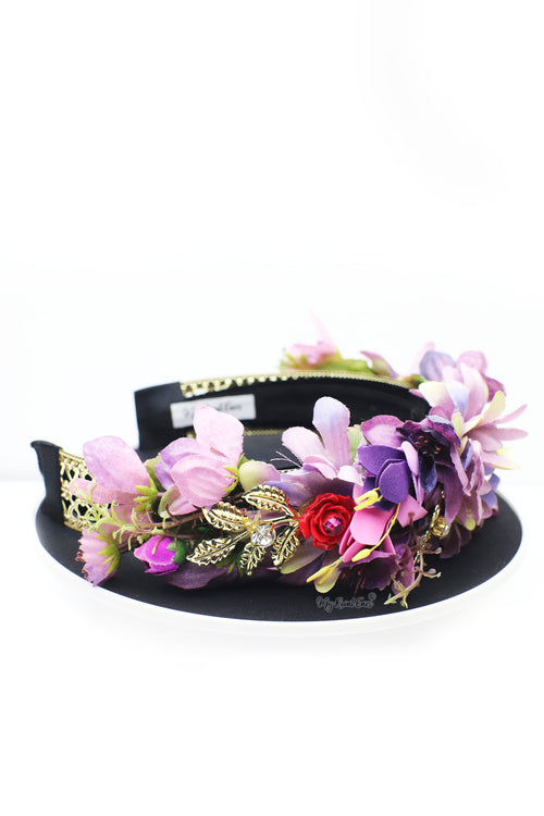 Queen Linda- purple flower head crown - My Roial Ears LTD