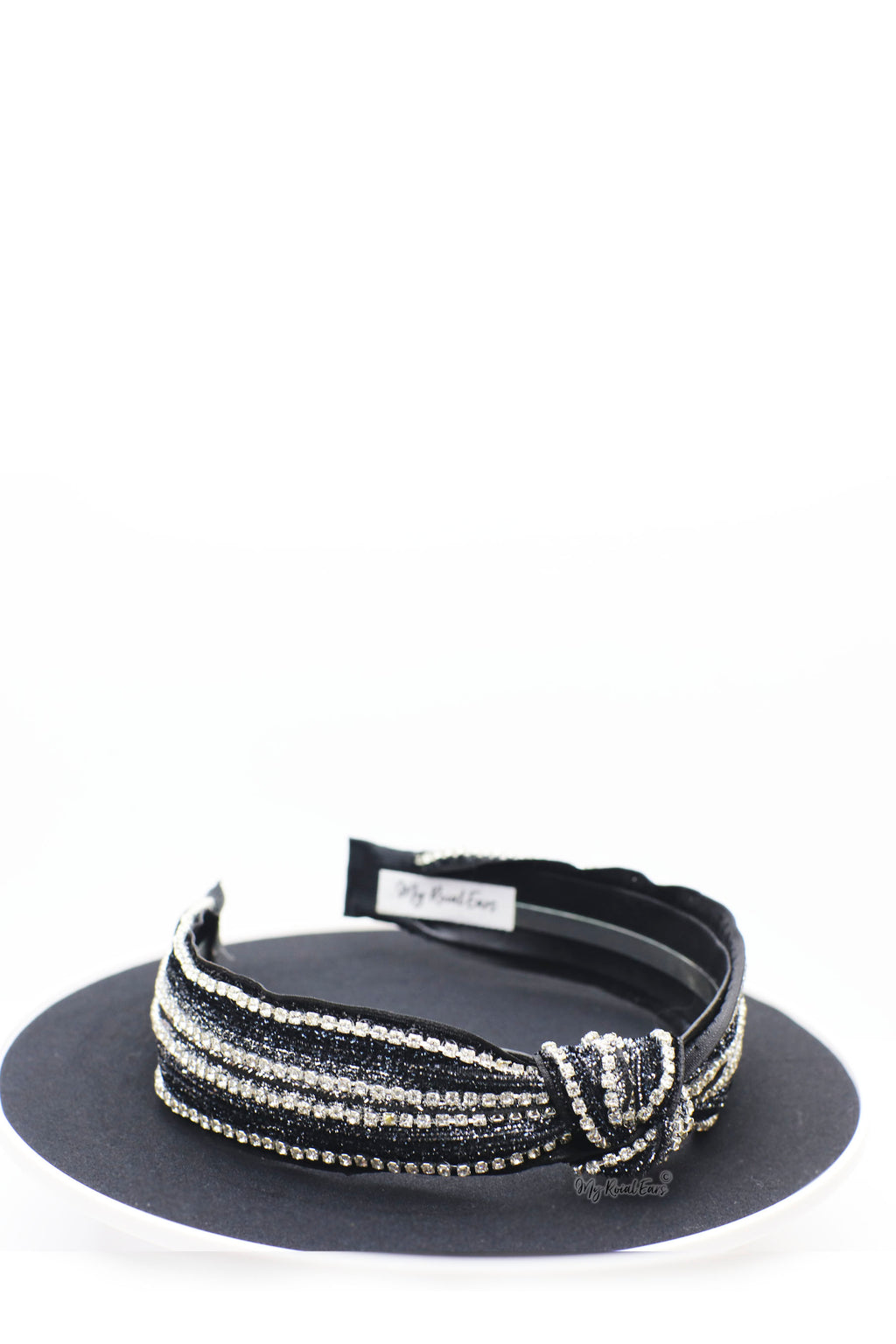 Queen Kelila- black and silver rhinestone knotted headband - My Roial Ears LTD