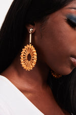 Blood Lily-wooden hoop drop earrings - My Roial Ears LTD