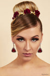 Queen Cady- red and gold floral baroque headpiece - My Roial Ears LTD