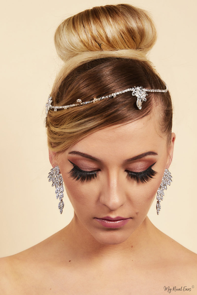 Queen Millicent- crystal bridal head chain - My Roial Ears LTD