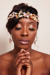 Queen Rowling- golden floral pearl ball headband and earrings set - My Roial Ears LTD
