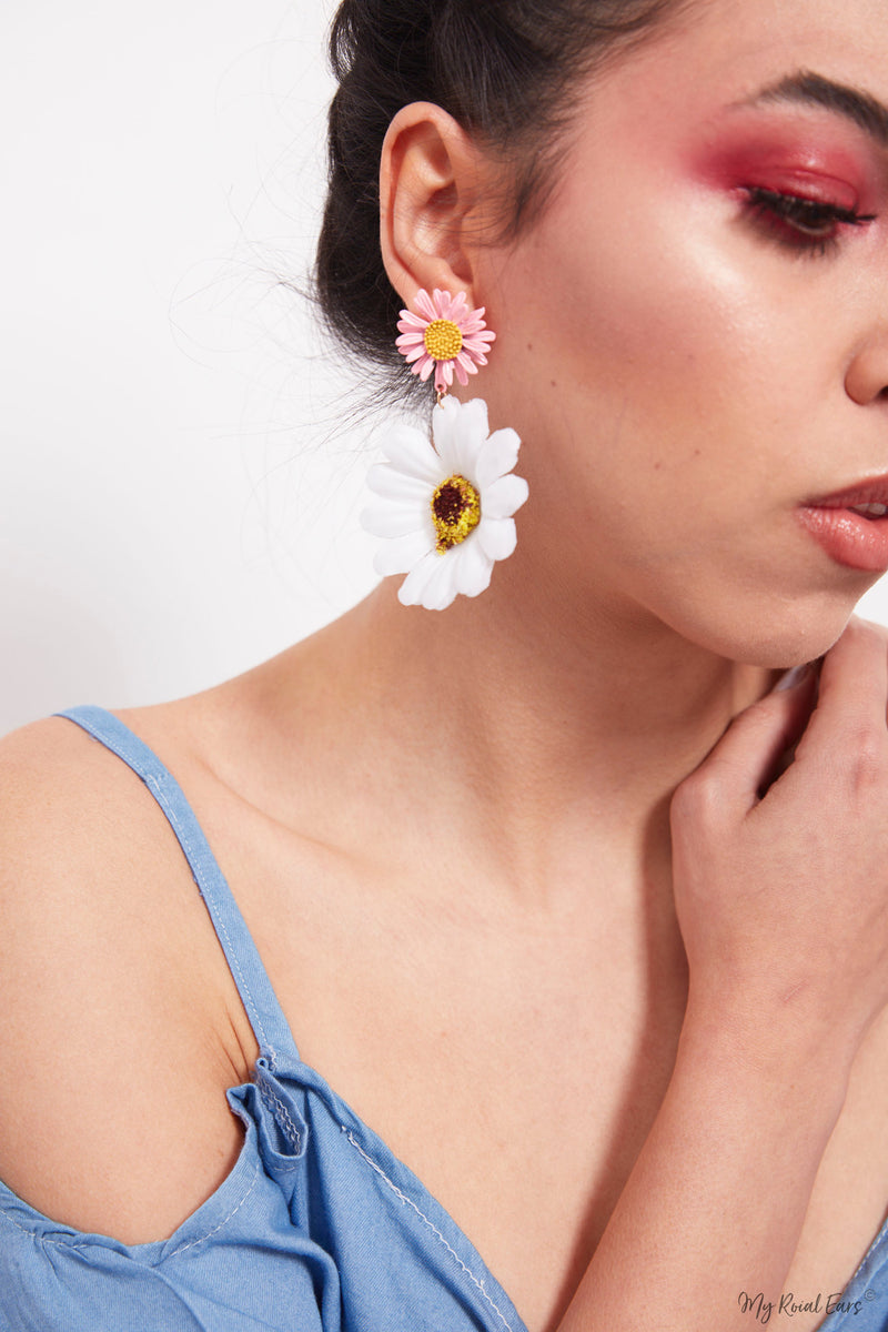 Rosemary Pink-Sweet summer beach flower earrings - My Roial Ears LTD