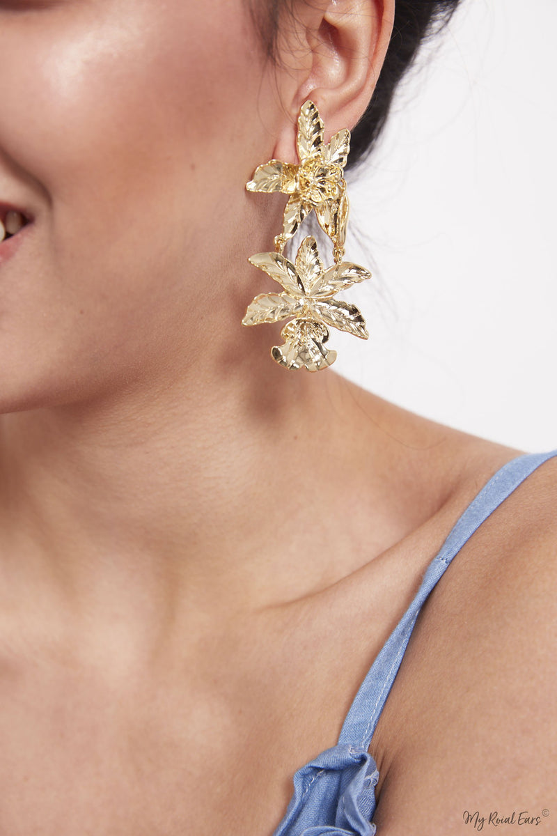 Paris- tropical statement drop earrings - My Roial Ears LTD