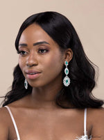 Q.ISABELLA- green crystal glass royal bridal drop earrings - My Roial Ears LTD