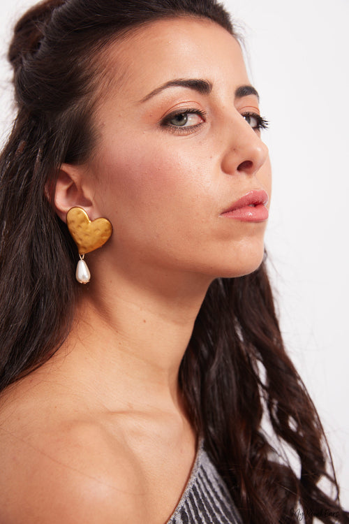 Alpine aster- gold love drop earrings - My Roial Ears LTD