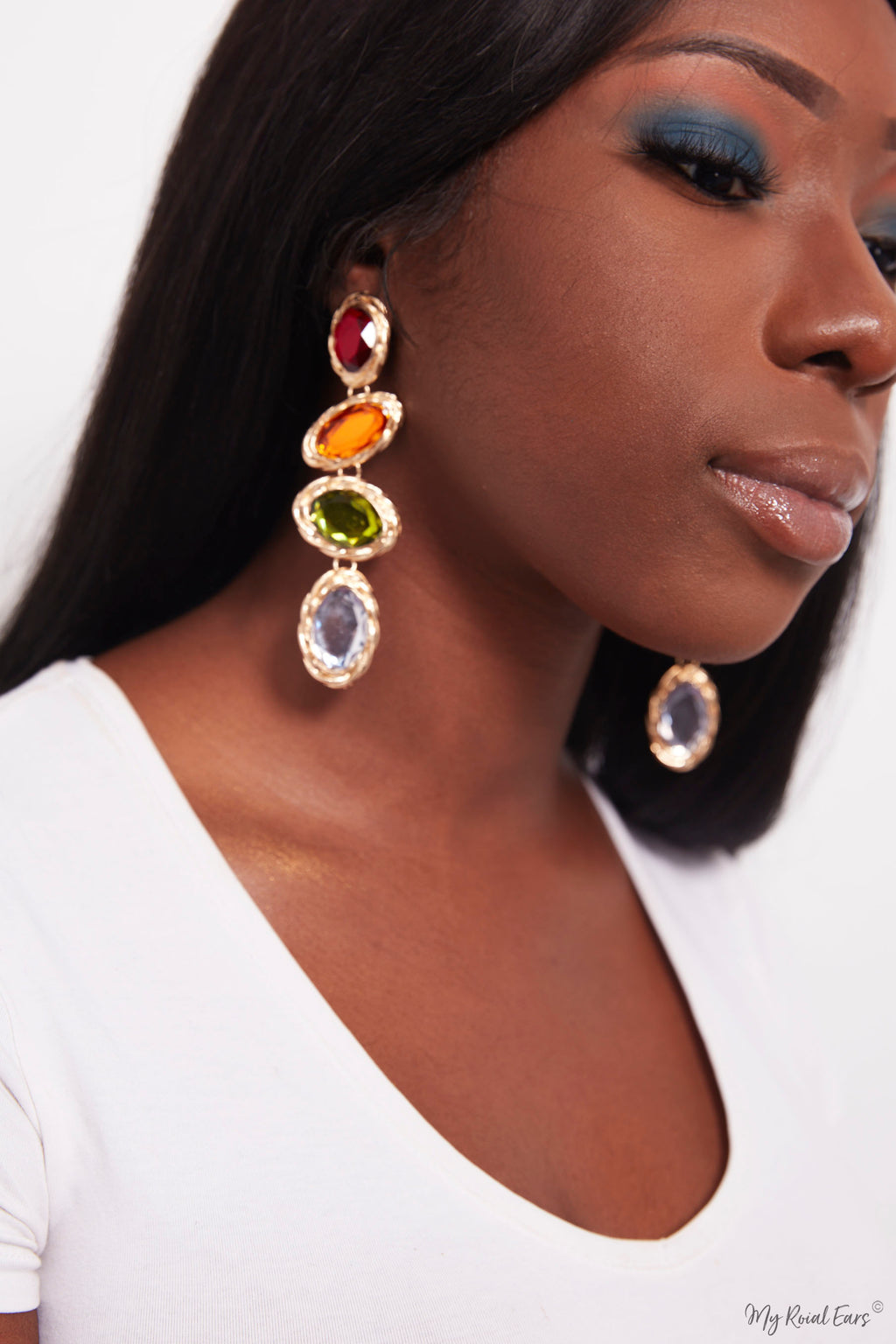 Begonia- multi colour drop gold earrings