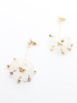 Orange Blossom- drop fan shape floral embellished earrings