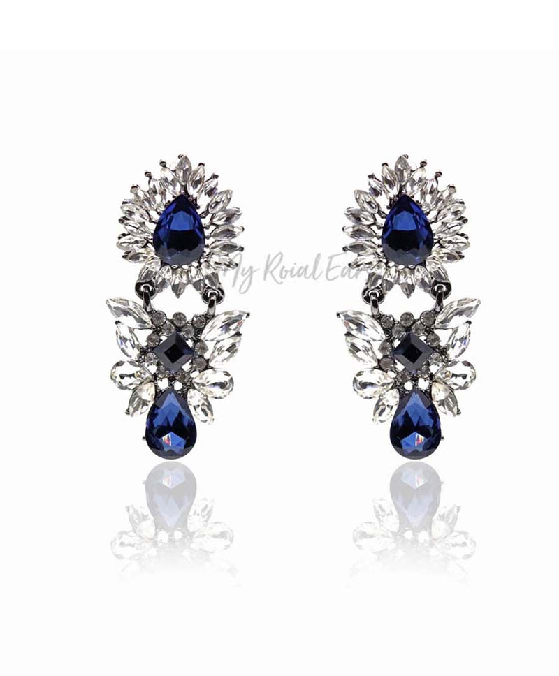 Q.OLGA-stunning blue glass crystal bridal earrings - My Roial Ears LTD