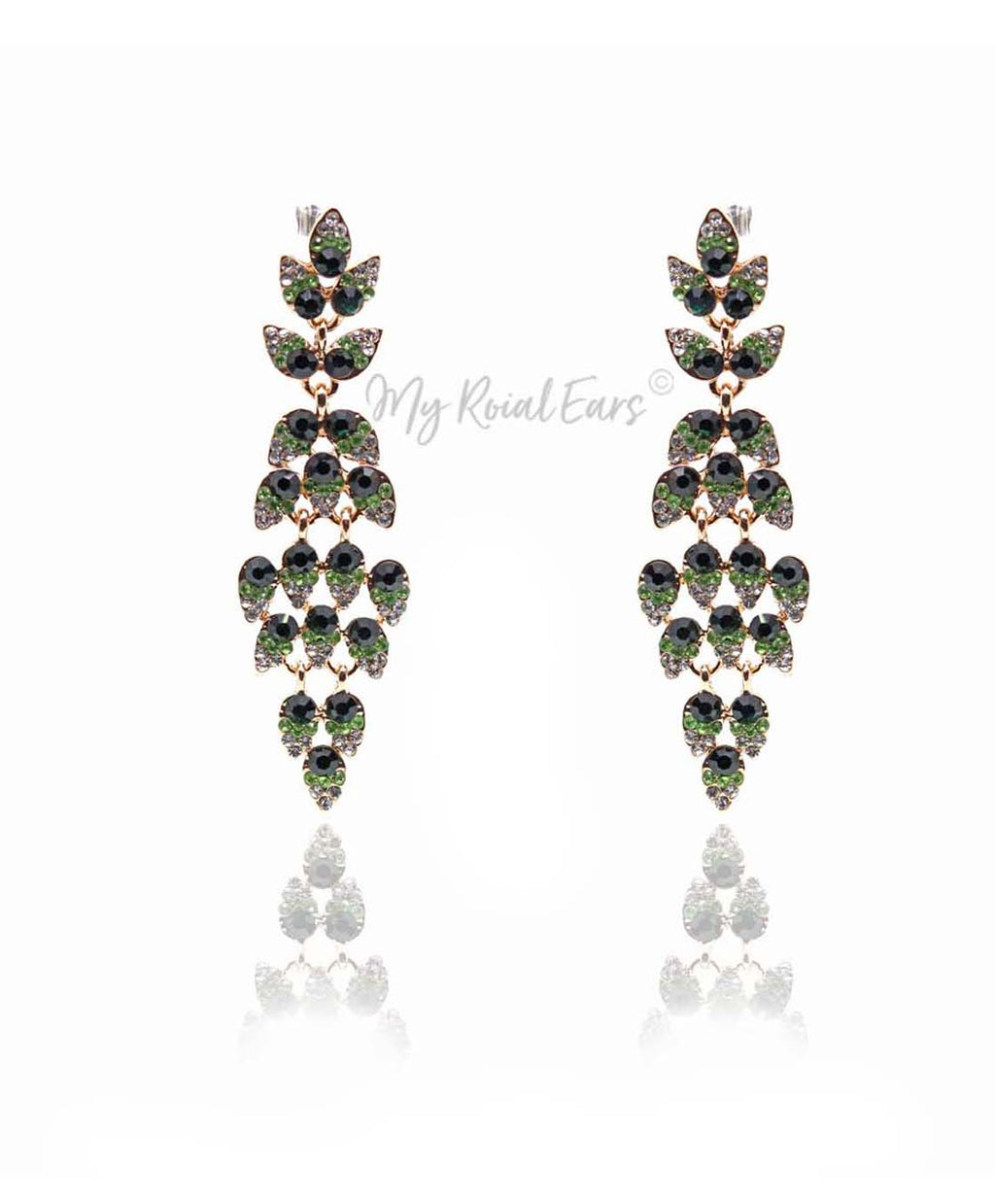 Q.PHILIPPA Green- peacock feather crystal bridal drop earrings - My Roial Ears LTD
