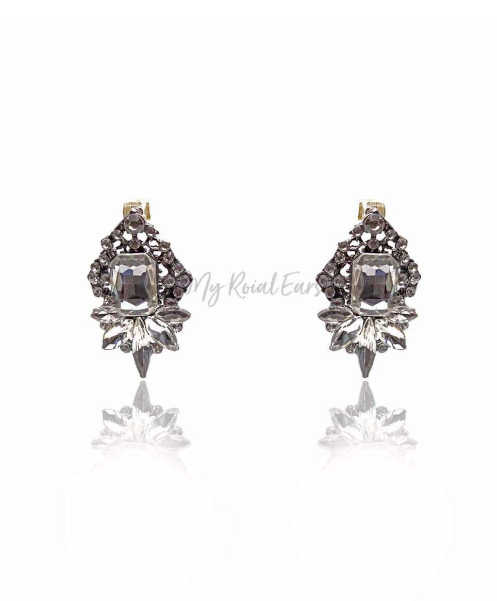 Q.QUINN-rhombus white glass crystal bridal stud earrings - My Roial Ears LTD