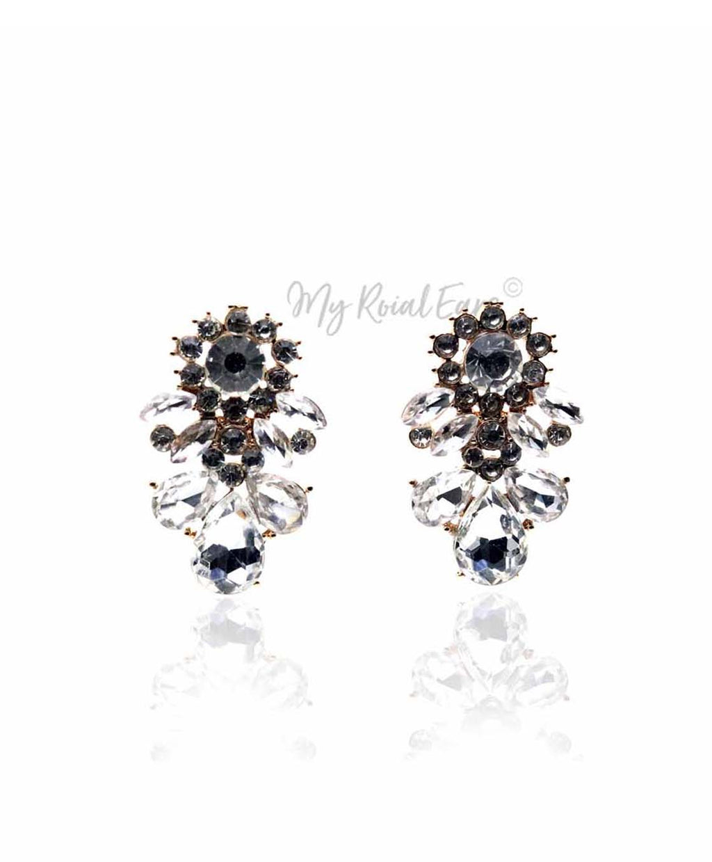 Q.SAVANNAH Stud-gold plated glass crystal bridal stud earrings - My Roial Ears LTD