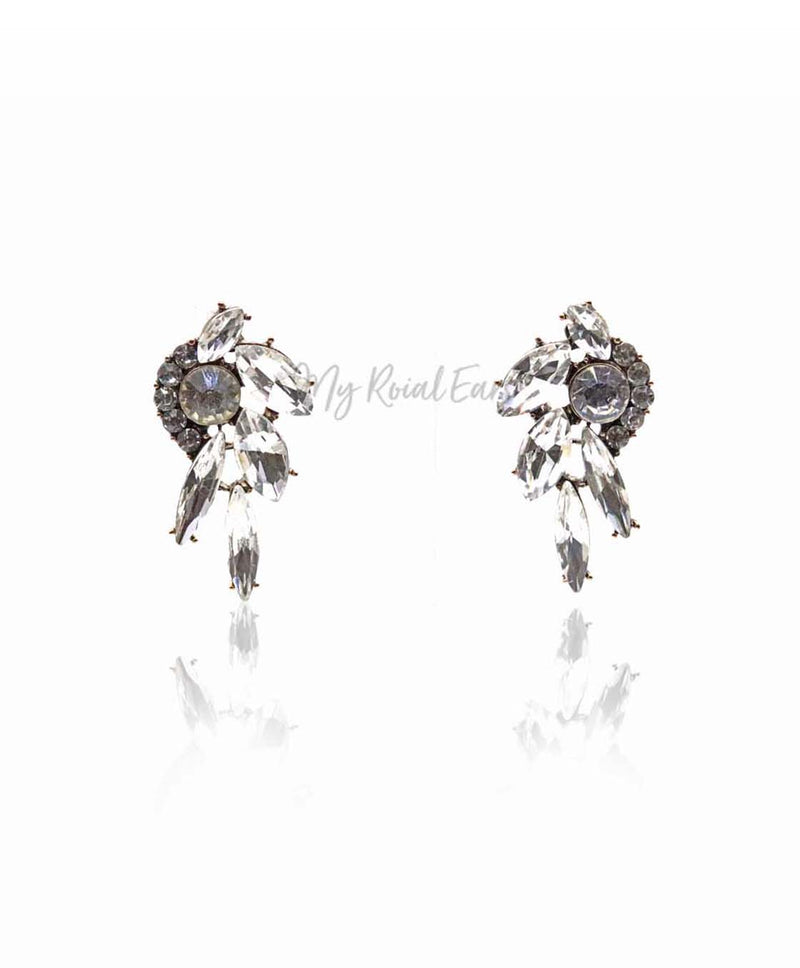 Q.THYRA-glass crystal geometric bridal statement stud - My Roial Ears LTD