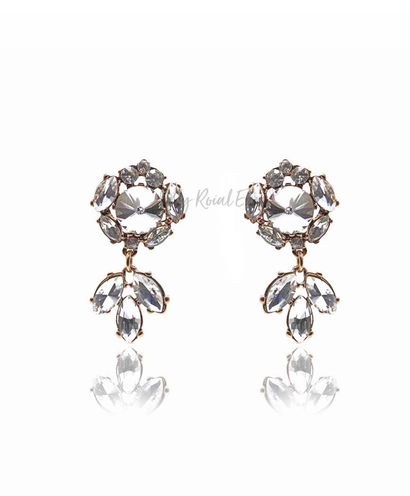 Q.URSULA- handmade elegance drop statement bridal stud earrings - My Roial Ears LTD