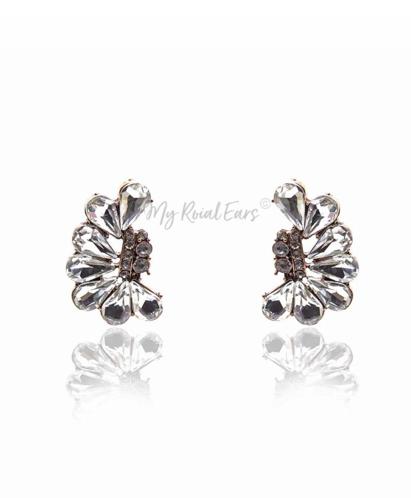 Q.VICTORIA-modern geometric clear crystal bridal stud earrings - My Roial Ears LTD