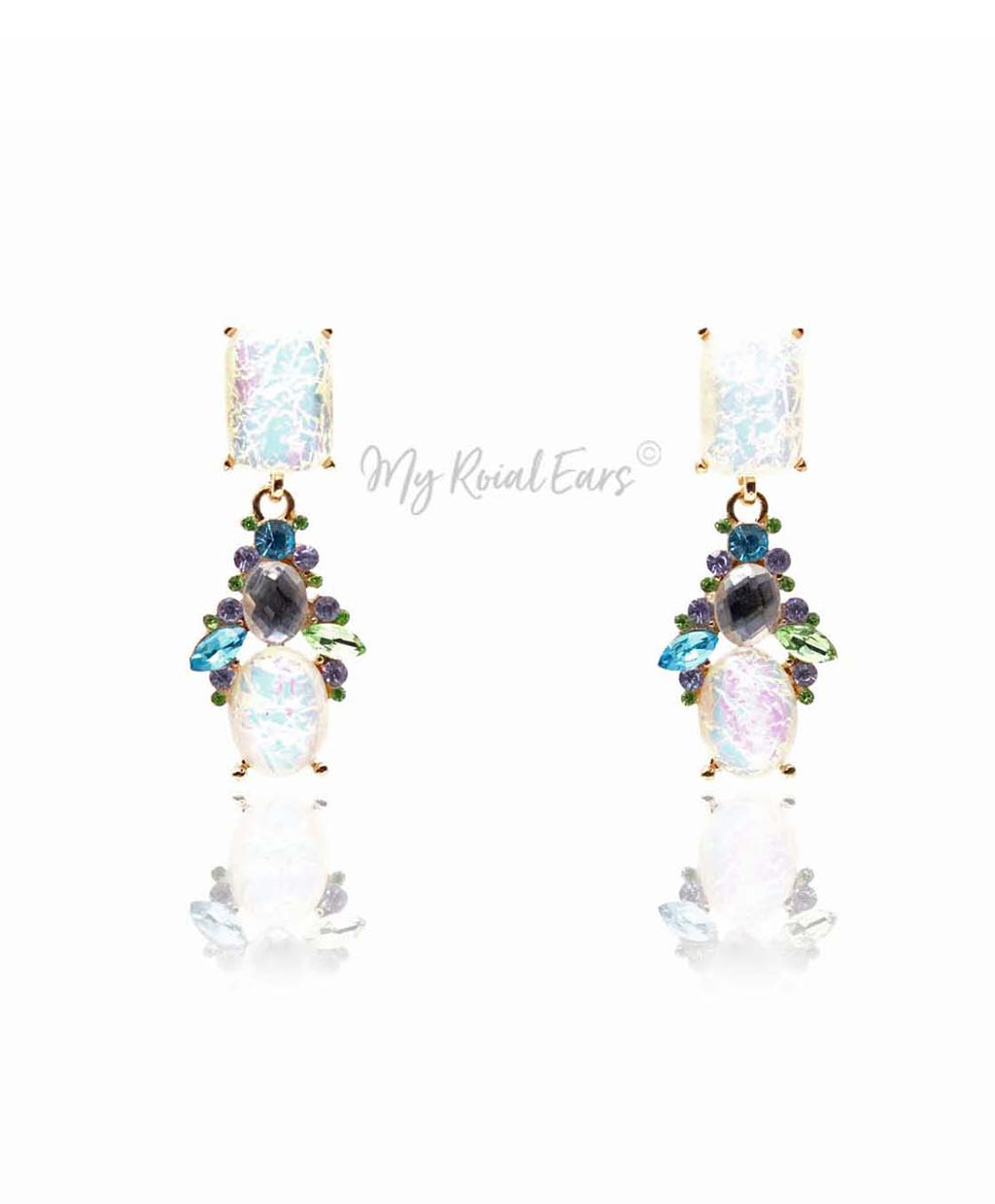 Q WANDA-imperial multi colored crystal pebble bridal earrings - My Roial Ears LTD