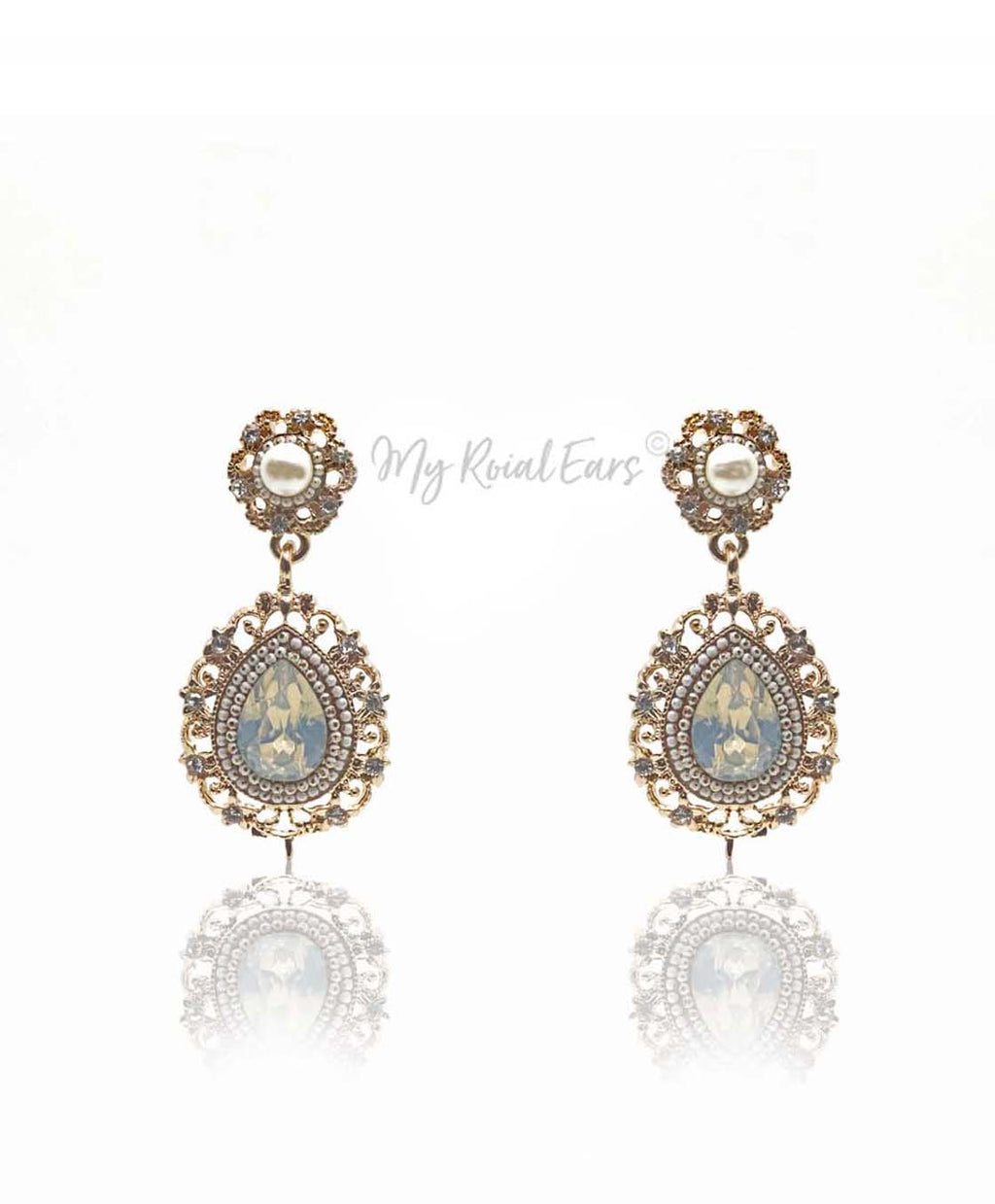 Q.YASMIN-golden elegance bridal drop earrings - My Roial Ears LTD