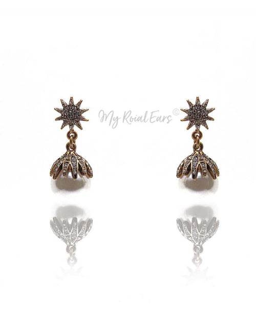 Q.ZARA-pearl antique gold rhinestone bridal drop earrings - My Roial Ears LTD