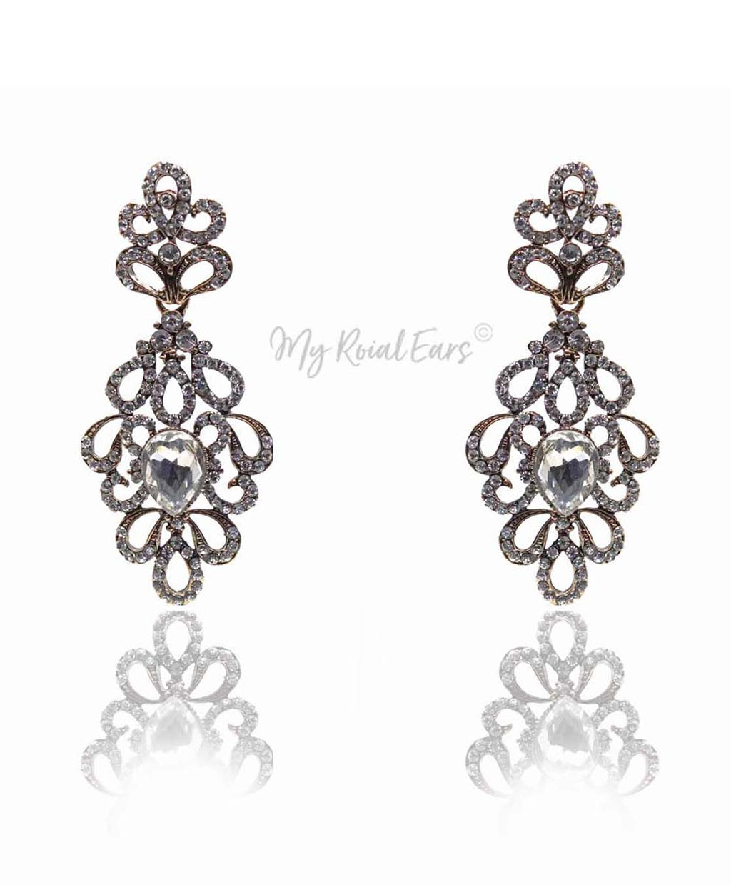 Q.Anastasia-royal luxury chandelier statement bridal earrings - My Roial Ears LTD