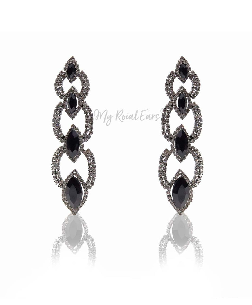 Q.Savannah-long crystal statement drop earrings - My Roial Ears LTD