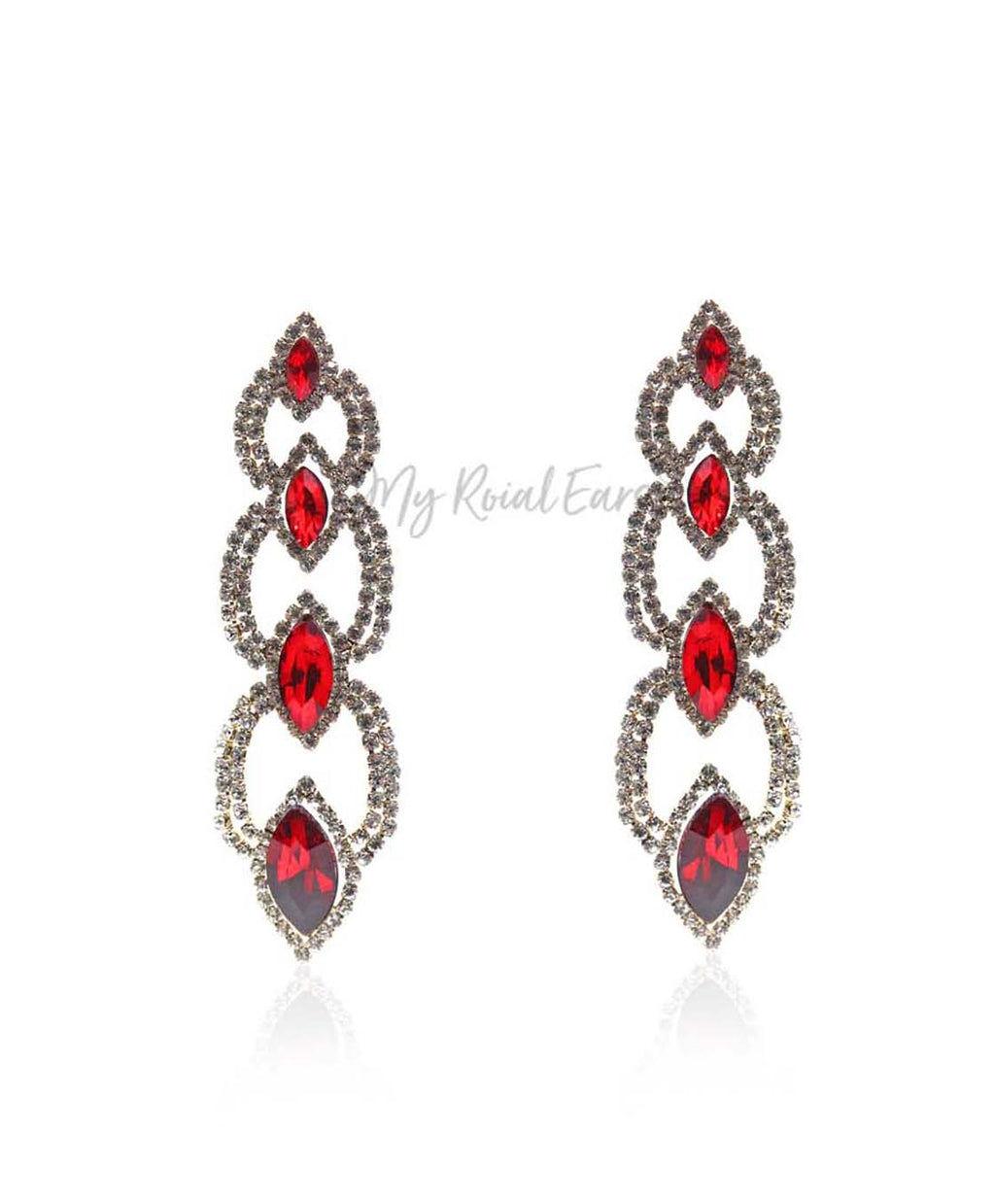Q.Savannah Red-long crystal statement drop earrings - My Roial Ears LTD